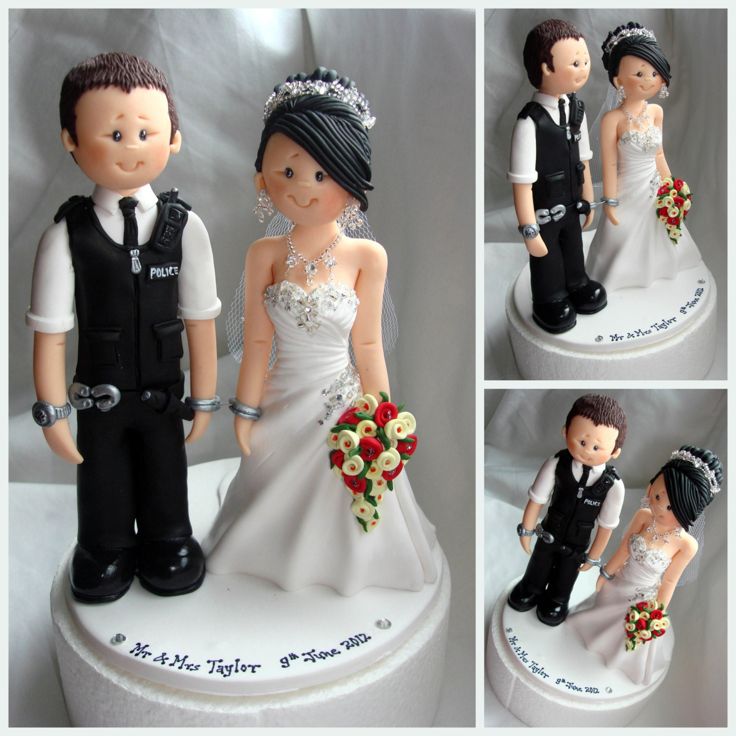Bride Wedding Cake Topper: Bride Handcuffed With Police Groom Wedding Cake Topper Custom