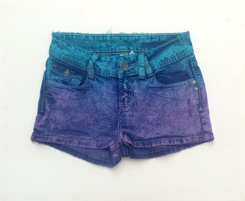Denim Shorts Pastel Grunge Purple u0026 Aqua Jean Shorts Tie Dye