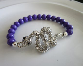Silver tone clear bejeweled snake charm elastic bracelet with purple pearl beads - birthday gift - snake bracelet - snake charm bracelet