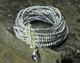 Silver Pearl, Pearl Bracelet, Pearl Aquamarine, Silver Bracelet, Wedding Bracelet, Bridal Bracelet, Pearl Jewelry, Freshwater Pearl