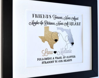 Glitter Maps, Best Friend Birthday Gift Custom Art Print Moving Away Farewell Gift For Friend Glam Glitter Sparkle Quote Bff Bestie Presents