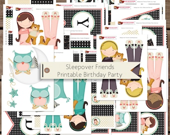Sleepover Friends Printable Party Decorations INSTANT DOWNLOAD