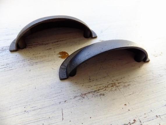 2 Drawer Pulls Cup Handles Dark Rustic Reclaimed Cupboard Bronze ...