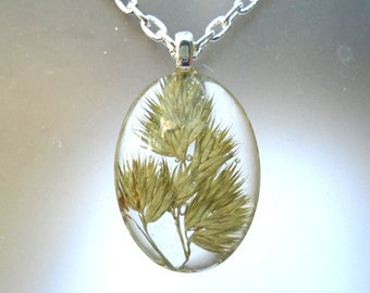 Real Pressed Grass Oval Glass Pendant Botanical Woodland Necklace