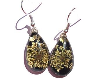Queen Annes Lace Real Pressed Flower Black Drop Earrings