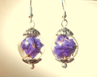 Real Limonium Statice Purple Flower Hand blown Glass Globe Terrarium Orb Earrings Sphere