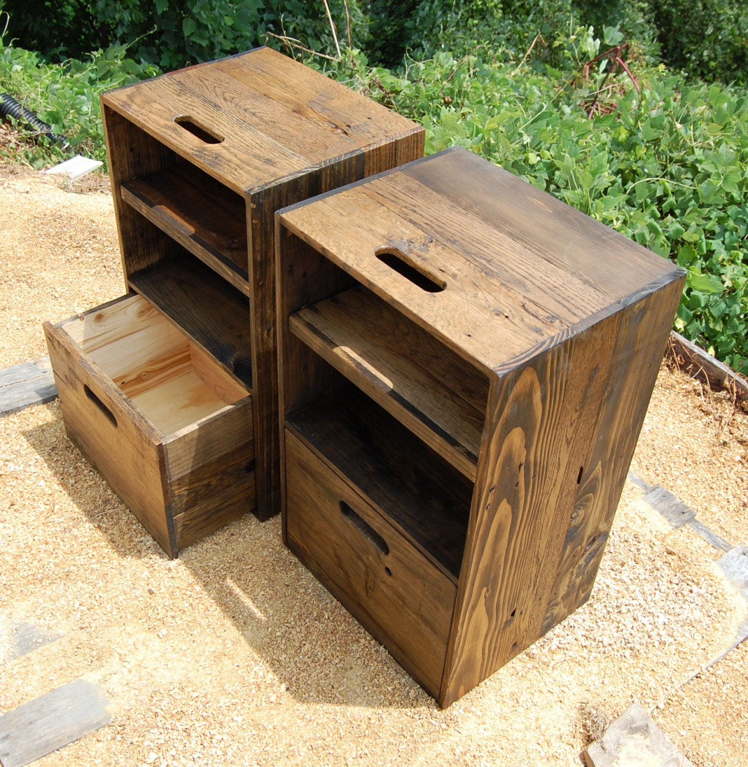Wooden crates nightstands side tables drawer reclaim wood
