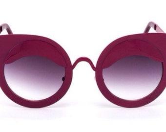 sheek Deep pink metal Frame Sun Glasses