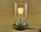 Lamp-Table Lamp-Wide Mouth Mason Jar and Edison Industrial Bulb Lamp