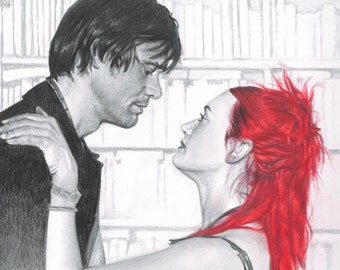 """Print of Colored Pencil / Graphite Drawing of Joel and Clementine in """"Eternal Sunshine of the Spotless Mind"""" (Jim Carrey / Kate Winslet)"""