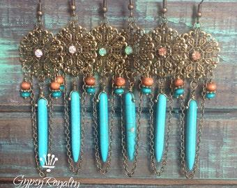 Antique Bronze Earrings Bohemian Wedding Jewelry Boho Earrings