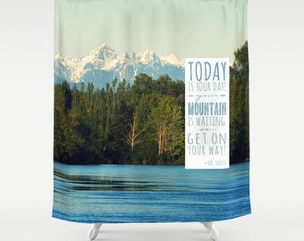 Fabric Shower Curtain   Pacific Northwest, Snowy Mountains, RDelean Designs    Get On Your