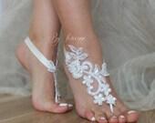 ByVivienne Original Design // Free Ship White Black or ivory  Champagne wedding barefoot sandals,  Beach wedding barefoot sandals,