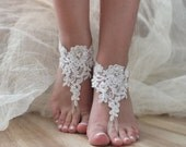 ivory Beach wedding barefoot sandals, lace barefoot lace sandals, lace shoes, bridal beach shoes FREE SHIP
