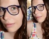 Vintage Blue Black Tortoiseshell Eyeglasses 1980s P3 Large Round Oversized Eyewear 52/20 men women