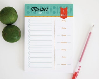 Grocery List Notepad - 5 x 7 market list notepad, 65 sheets