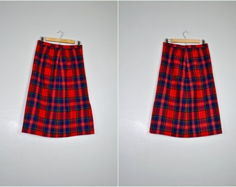 Pendleton Plaid Skirt, Red, Blue, and Green