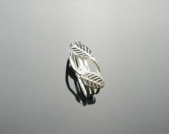 Sterling Silver Leaf Ring, Silver Coil Ring, Silver Vine Ring, Bypass Ring, Coil Rings, Leaf Rings, Vine Rings, Made to Order