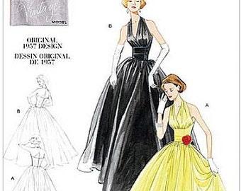 Dress, Halter with Full Skirt  - 1950's - Vintage Vogue Pattern 2962   Uncut   Sizes 4-6-8-10 or 12-14-16-18