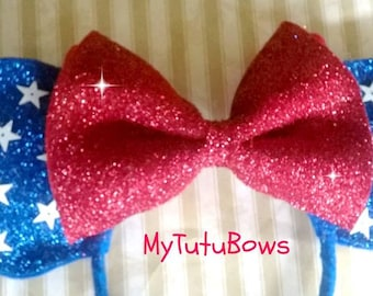 New Item Minnie Mouse Ears Headband 4th of July Americana Blue Ears With Red Bow and Stars Fits Adults and Children Glitter Sparkle