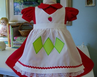 Traditional Strawberry Shortcake, I will make from Size 12 months - Size 5, this is a Custom Order
