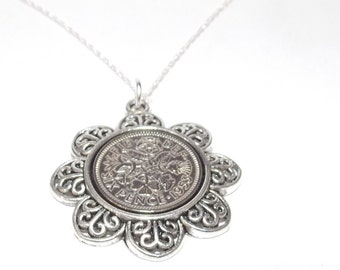 Floral Pendant 1953 Lucky sixpence 65th Birthday plus a Sterling Silver 18in Chain 64th