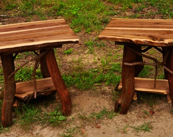 Rustic Pair of  Walnut Handmade End Tables Log Cabin Adirondack Art Furniture by J. Wade FREE SHIPPING!