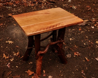 Rustic Cherry Wood Handmade End Table Log Cabin Tiny Tree House Adirondack Art Furniture FREE SHIPPING
