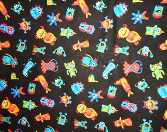 Black with Mini Multicolr Monsters Cotton Fabric by the Yard