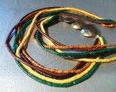 Vintage 70s Long Multi Colored 5-Strand Dyed BONE Brass Necklace Folk Art Boho Hippie (New Old Stock)