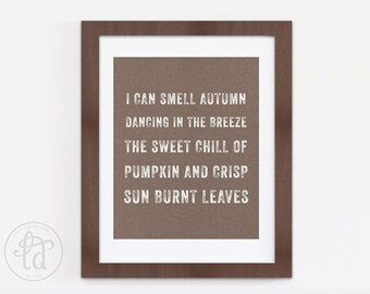 Sun Burnt Leaves Print - Fall, Autumn Decor - Printable - 8 x 10 - INSTANT DOWNLOAD
