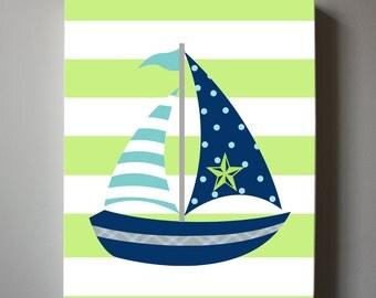 Nautical Nursery Art ,Sailboat Canvas Art - Navy Blue, Green , Stripes