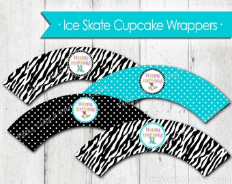Ice Skating Cupcake Wrappers - Instant Download