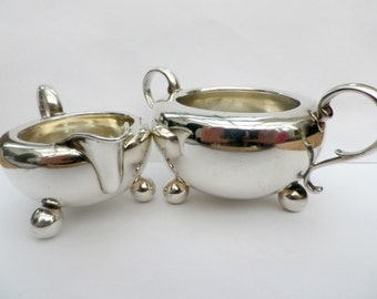 Silver sugar basin cream jug set, Victorian antique silver, Arts and Crafts style, London 1884, Daniel & Charles Houle