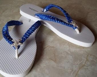 Starfish Royal Blue Flip Flops. Royal Blue Bridal shoes, rhinestones flip flops. Brides, Wedding, Bridesmaids.
