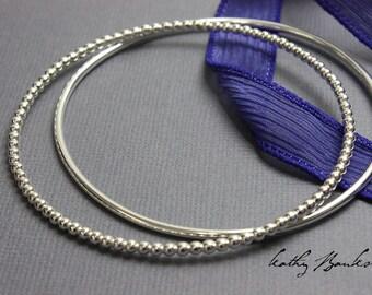 Sterling Silver Bangles, Sterling Silver Bangle Set, 2 Bangle Bracelets, Thin Bangle, Silver Bracelet, Bangle Set, 2 Bangles, Kathy Bankston