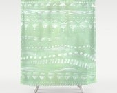 Items Similar To Mint Green Geometric Shower Curtain Geometric