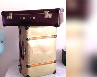 Antique green suitcase