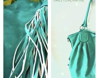 turquoise green tassel  bag