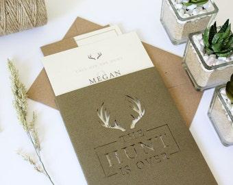 Heritage Laser cut Wedding Invitation Pocket, The Hunt is Over Rustic Highland Invitation and RSVP set