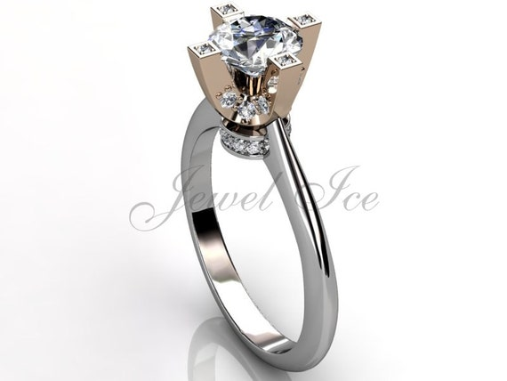 14k two tone white and rose gold diamond engagement ring