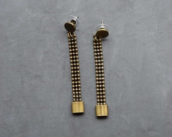 Long earrings chain and ring on chip bronze