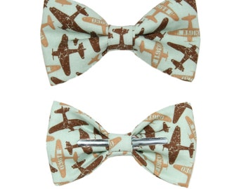 Airplanes Clip On Cotton Bow Tie Bowtie ~ Choose Men's or Boys Sizes