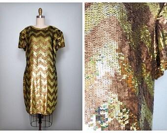 VTG Gold Sequin Dress by Naeem Khan Riazee • Gold Sequined Bridesmaid Dress • Golden Chevron Deco Dress Large L