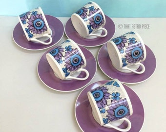 Retro floral teaset (for five), made in Japan