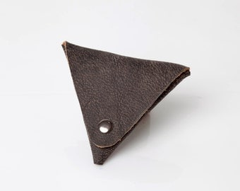 Small Leather coin purse - Leather wallet - Money pouch - Men's wallet - Change purse - Distressed gray leather wallet