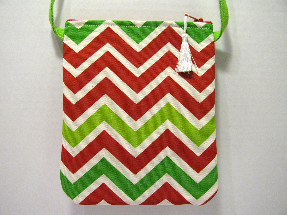 Small Christmas Purse Crossbody Strap - Red, Green, White Chevron ...
