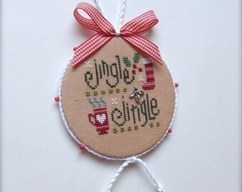 Completed primitive cross stitch Jingle Jingle Christmas ornament / Christmas decoration