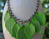 Leaf Necklace - Leaf Choker - Industrial - Modern Jewelry - Air Dry Clay - Artistic Necklace - Original Leaf Choker - Green Silver