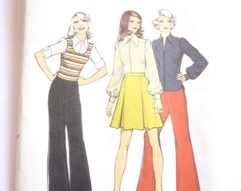 Vintage 1970′s Style 4046 Skirt, Trousers & Blouse Sewing Pattern Size 10 – 32 1/2″ Bust Flares Pants